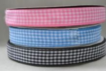 "15mm (5/8"") PINK, BABY BLUE, BLACK GINGHAM  cotton ribbon 3 mtrs"
